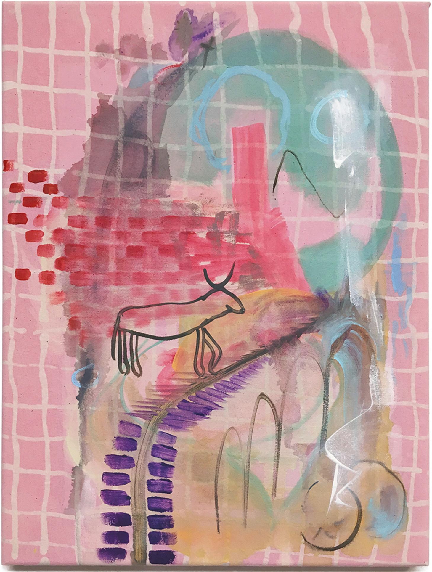 Nina-Tobien-batik-dying-checkerboard-gaming-level-escalator-mythology-painting-contemporary-art-color-dream
