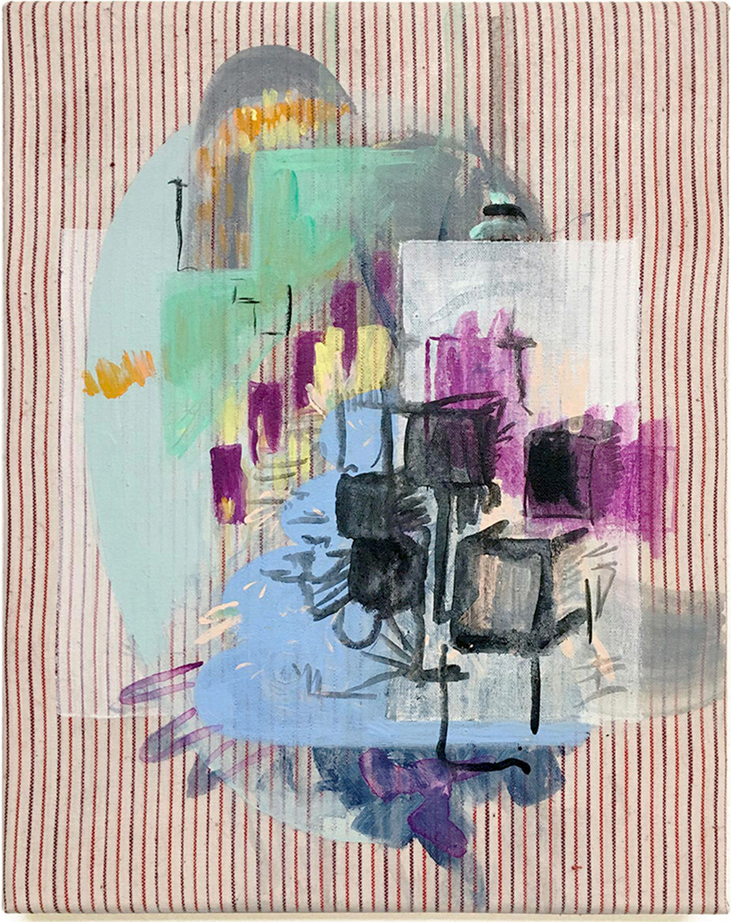 Nina-Tobien-contemporary-art-painting-found-textile-stripes-clothes-setting-the-scene-stage-design-movie-set-props-stage-cases-colors-curtains-lightning-backdrop