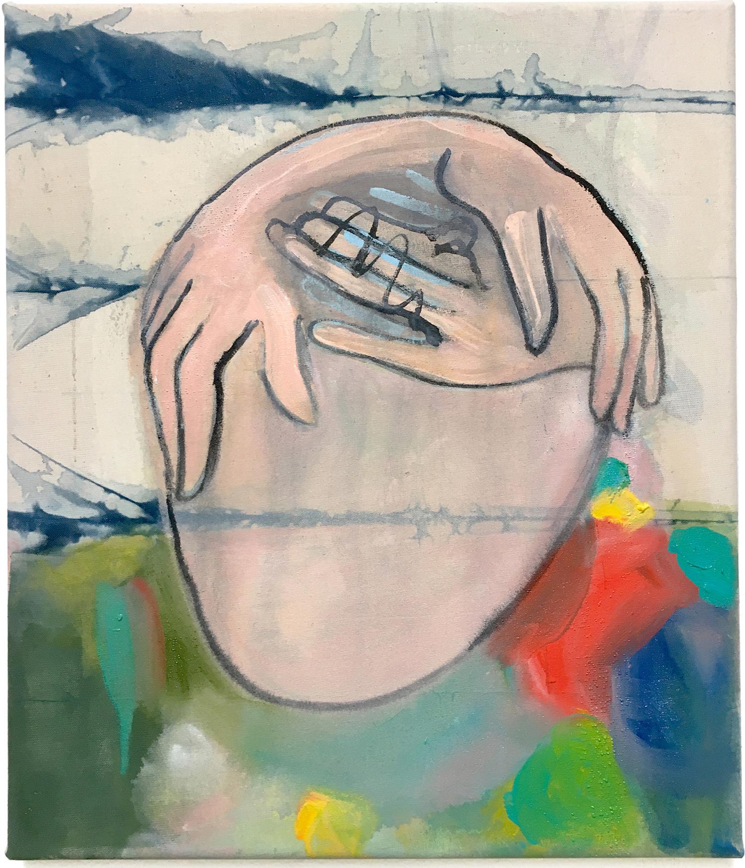 Nina-Tobien-painting-contemporary-art-body-fragmented-surreal-skin-face-hands-deformed-new-bodies-guarded-colors-batik-dying-shibori-indigo-portrait