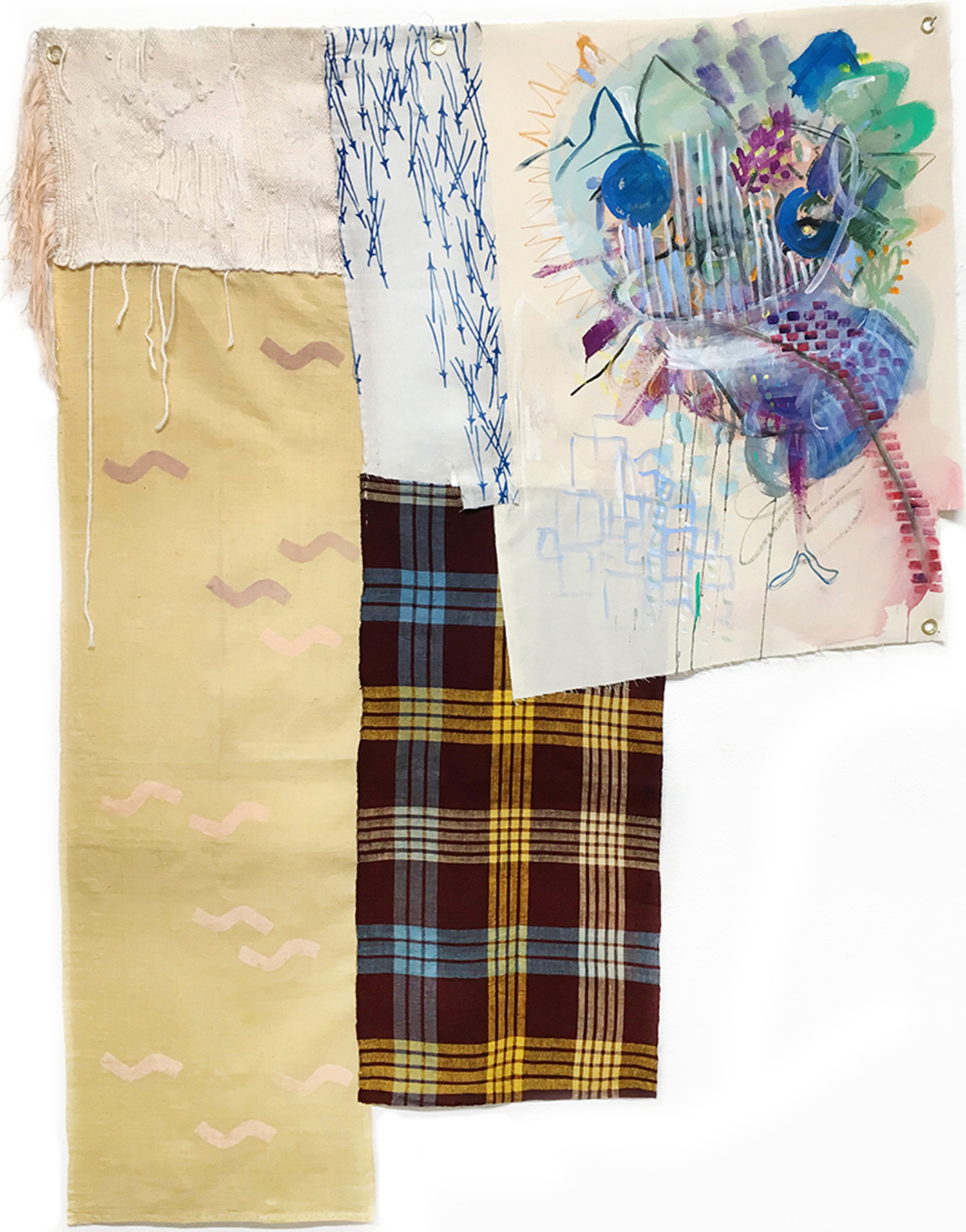 Nina-Tobien-painting-patchwork-curtain-weaving-shibori-waves-potato-print-checkerbord-natural-dying-loose-canvas-landscape